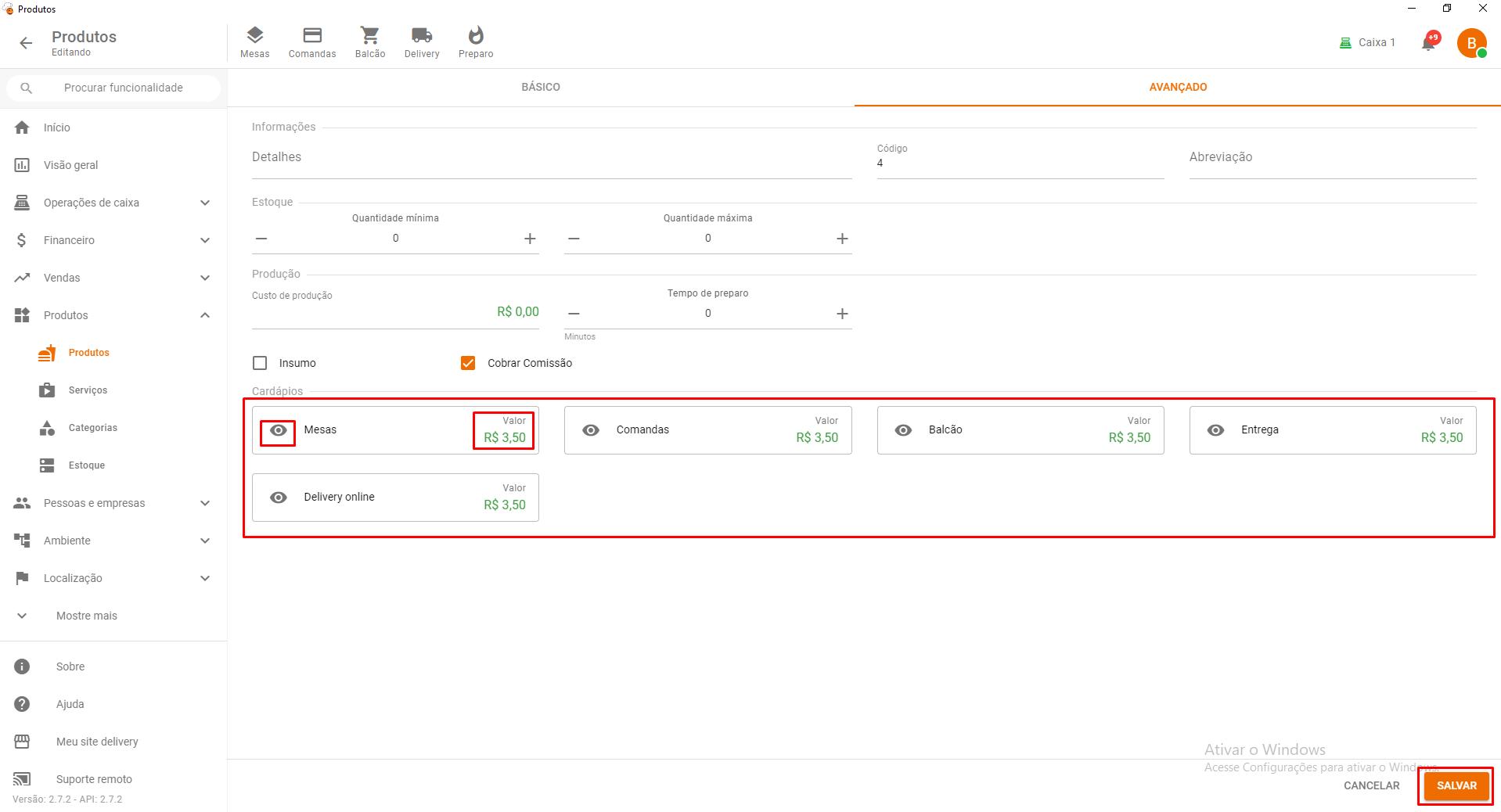 Alterar preço e visibilidade no GrandChef 2.0